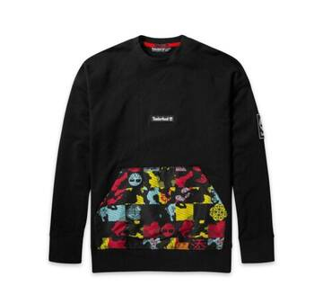 Men's Mixed-Media Printed Crew