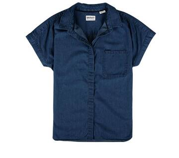 Women's Short Sleeve Chambray Blouse