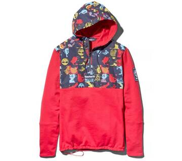 Men's Mixed-Media Printed Hoodie